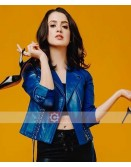 The Perfect Date Laura Marano Blue Leather Jacket
