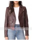 Meghan Markle Maroon Leather Biker Jacket