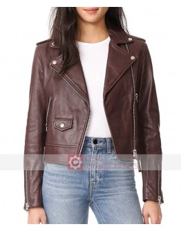 Meghan Markle Maroon Leather Biker Jacket