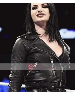WWE Paige (Saraya Bevis) Biker Leather Jacket