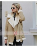 Shearling Aviator Fur Collar Jacket For Women