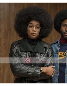 BlacKkKlansman Patrice Laura Harrier Black Leather Jacket