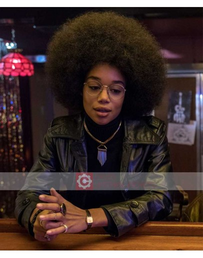 BlacKkKlansman Laura Harrier Leather Jacket