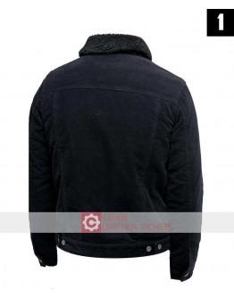 Black Cord Jacket With Borg Collar