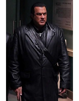 Against the Dark Steven Seagal Leather Black Coat