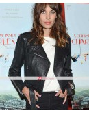 Alexa Chung Black Leather Jacket