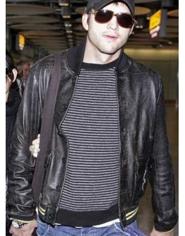 Ashton Kutcher Black Bomber Leather Jacket