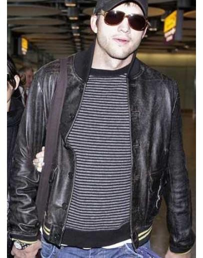 Ashton Kutcher Black Bomber Leather Jacket