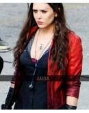 Avengers Age Of Ultron Elizabeth Olsen Red Jacket