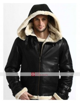 B3 Bomber Full Fur Removable Hood Shearling Jacket
