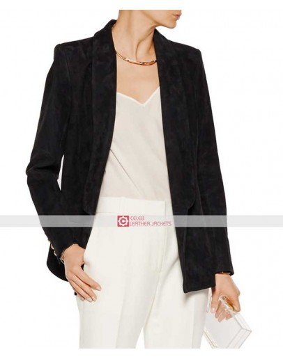 Balmain Women Suede Black Blazer Jacket