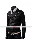 Slim fit Belted Rider Black Leather Jacket