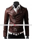 Slim Fit Belted Rider Light Brown Jacket