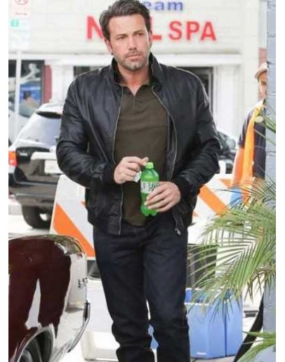Ben Affleck Black Bomber Leather Jacket