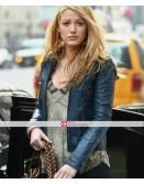 Blake Lively Blue Fashion Celebrity Jacket