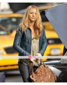 Blake Lively Blue Fashion Celebrity Jacket