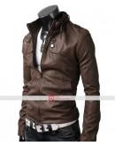 Slim Fit Button Pocket Light Brown Jacket