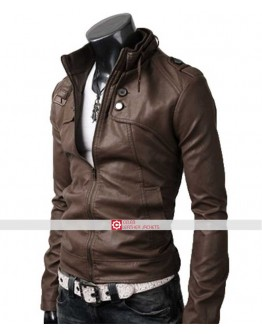 Slim Fit Button Pocket Light Brown Jacket