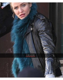 Cameron Diaz Black Biker Leather Jacket