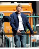 Captain America Winter Soldier Chris Evans Blue Leather Jacket