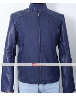 Captain America Winter Soldier Chris Evans Blue Leather Jacket
