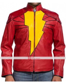 Captain Marvel Shazam Movie Leather Costume Jacket