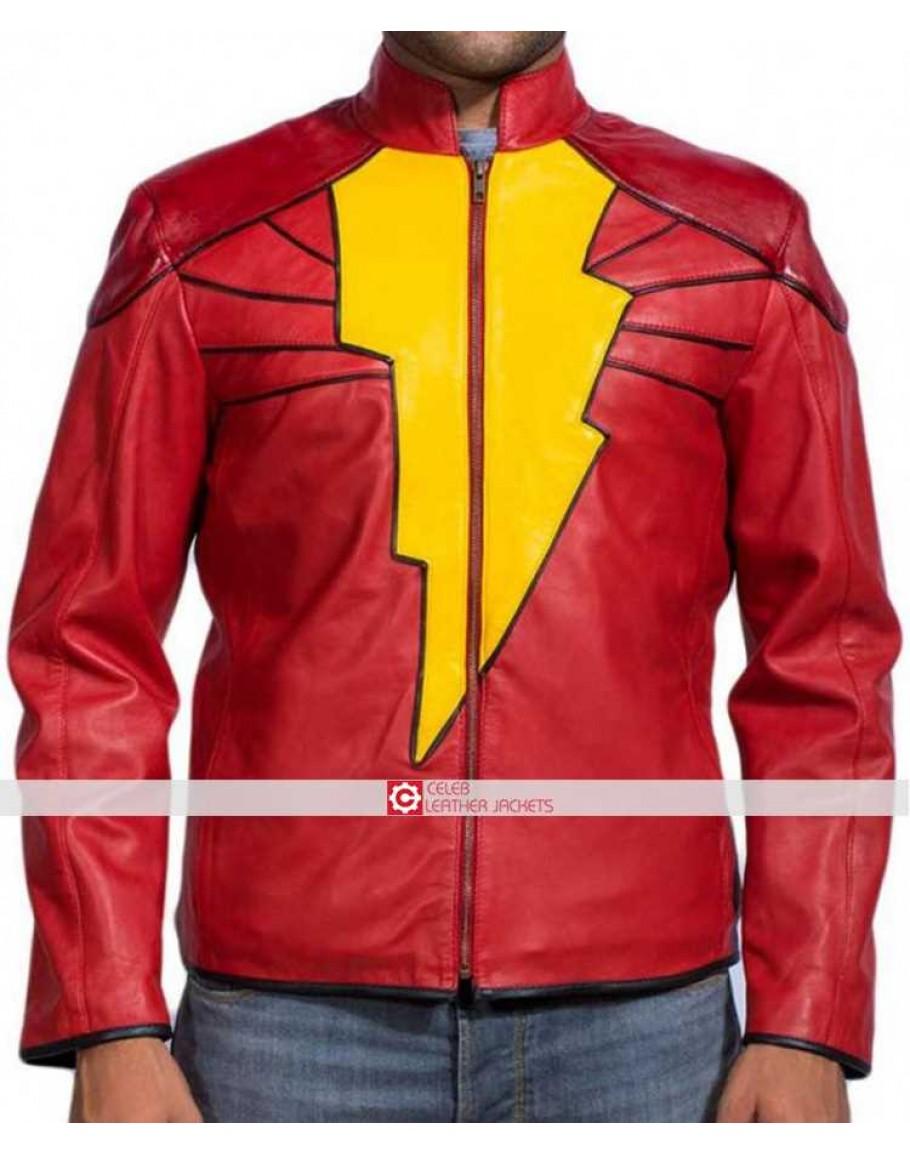 Captain Marvel Shazam Movie Leather Costume Jacket Target/holiday shop/captain marvel costume (3291). celeb leather jackets