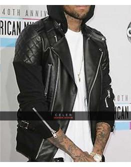 Chris Brown Bomber Black Leather Jacket