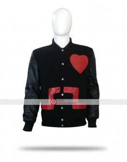 Chris Brown Heart Bomber Black & Red Jacket