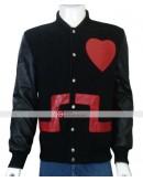 Chris Brown Heart Bomber Black & Red Jacket