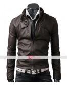 Slim Fit Dark Brown Button Pocket Jacket