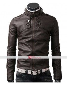 Slim Fit Dark Brown Button Pocket Jacket