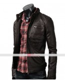 Slim Fit Dark Brown Zip Pocket Jacket
