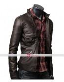 Slim Fit Dark Brown Zip Pocket Jacket