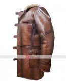 Dark Knight Rises Bane Real Leather Fur Trench Coat