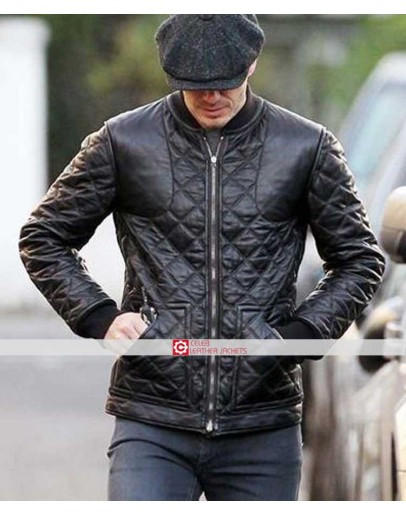 David Beckham Quilted Bomber Leather Jacket 50 Off