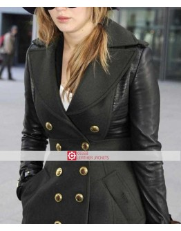 Designers Jennifer Lawrence Trench Leather Coat