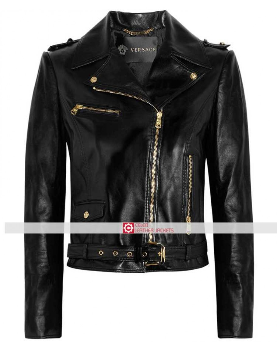 8fa0778be8 Donatella Versace Women Black Leather Jacket