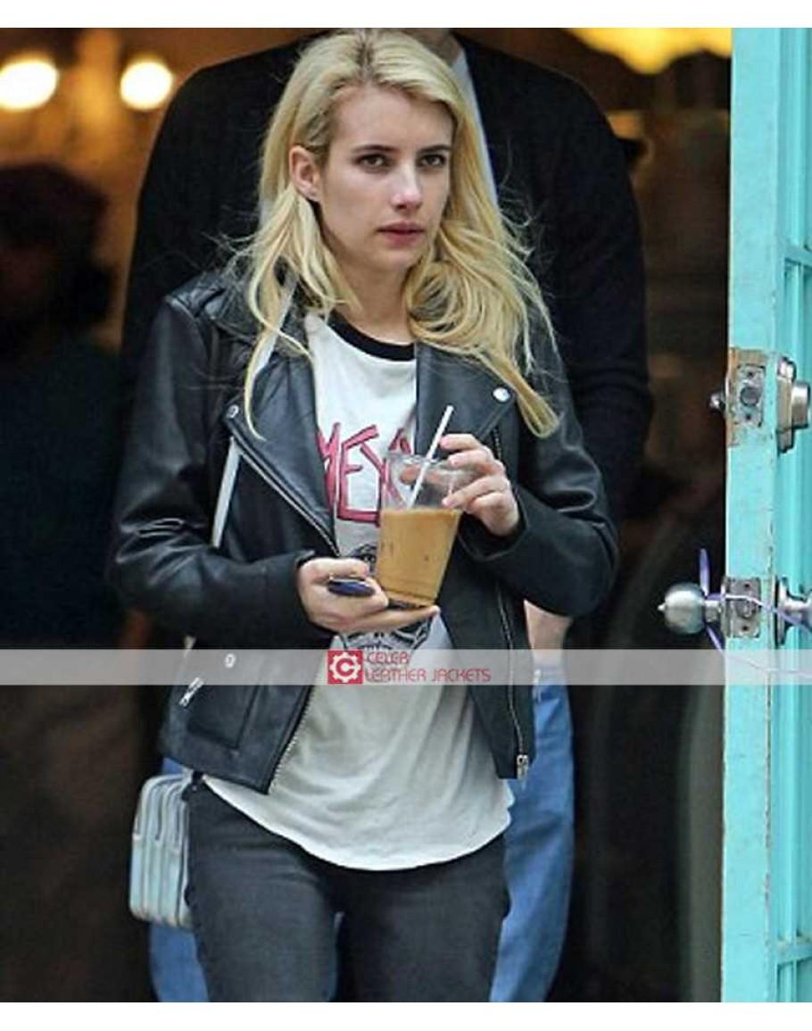 Emma Roberts Biker Black Leather Jacket