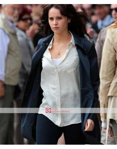 Inferno Felicity Jones Trench Blue Coat
