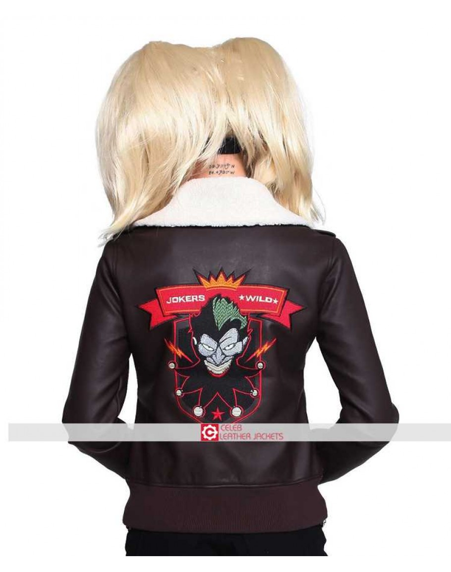 dd1068a14 Harley Quinn Bombshell Bomber Faux Leather Jacket