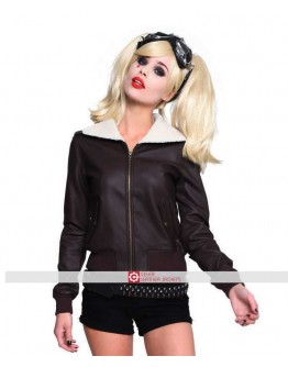Harley Quinn Bombshell Bomber Faux Leather Jacket