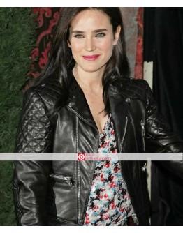 Jennifer Connelly Quilted Biker Black Leather Jacket