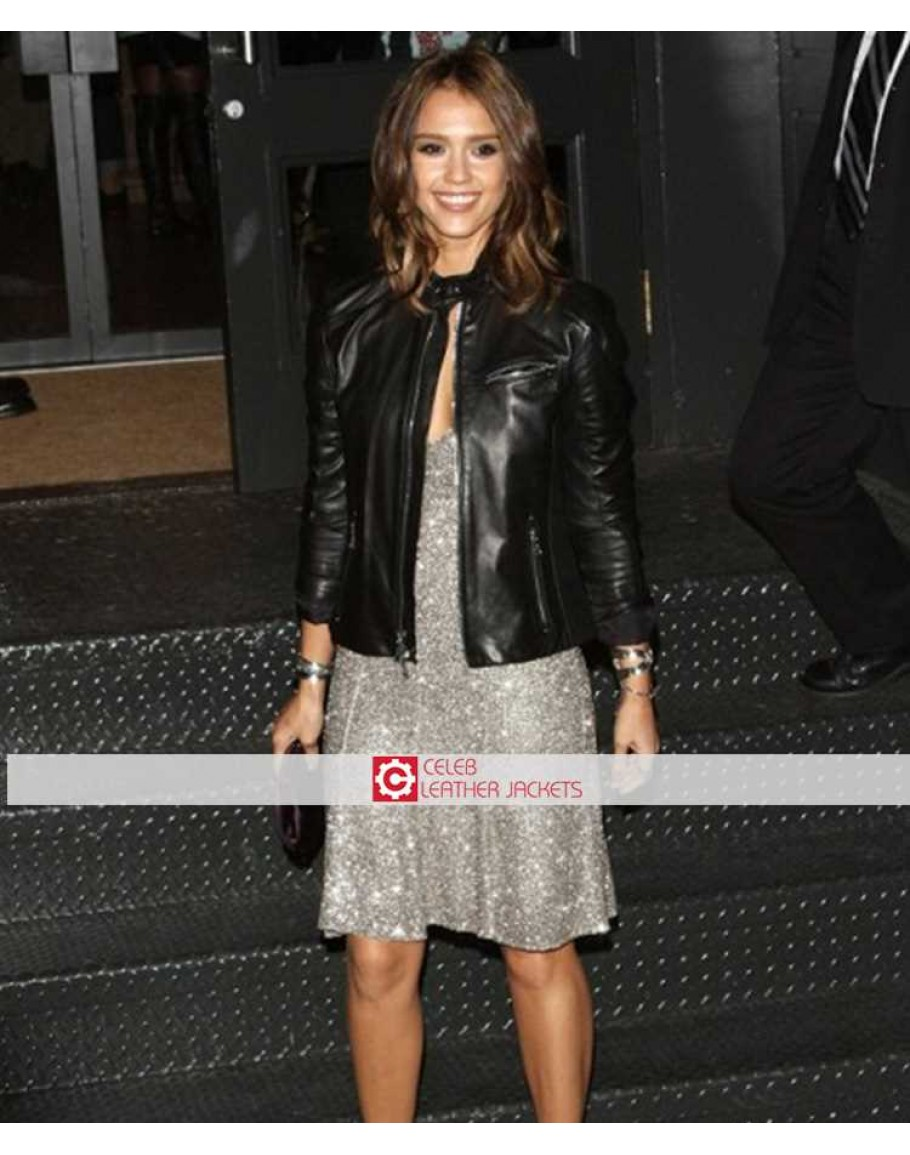 8f4a6b12d6 Jessica Alba Black Leather Stylish Jacket | Fashion Jacket
