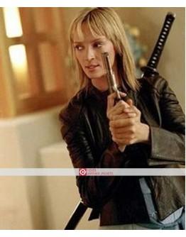 Kill Bill Uma Thurman Black Leather Jacket