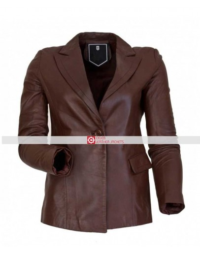 Ladies One Button Brown Blazer Jacket