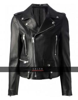 Mariah Carey Black Biker Leather Jacket