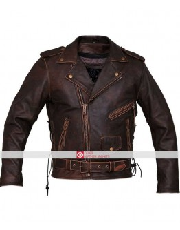 Marlon Brando Armoured Biker Distressed Leather Jacket