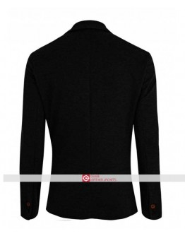 Men Two Button Wool Black Blazer