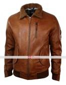Mens Hood Fur Bomber Aviator Tan Brown Retro Jacket